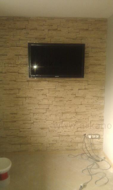 kamenný obklad pod TV - zasekanie elektriky pod obklad, obkladanie, montáž TV